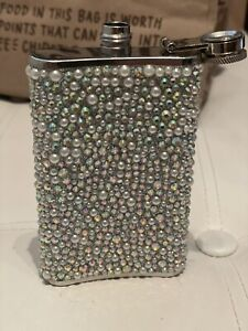 5  oz stainless steel Beautiful Flask Pearls And Rhinestones Sparkle