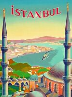 Istanbul Turkey Vintage Travel Art Advertisement Poster Print