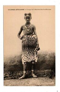 AFRICA, SEMI-NUDE WOMAN, JEWELRY, COIFFURE & ANIMAL SKIN CLOTHING  1907-20