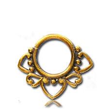 Hanging Septum 9Mm Ring Diameter Nose Ornate Design 16G Antiqued Tribal Brass