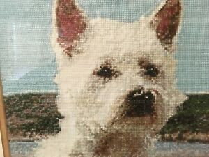 Counted Cross Stitch Framed Glazed Picture - Scottie Dog