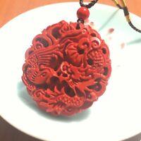 Chinese Pendant Natural Red Organic Cinnabar Dragon Phoenix Design Lucky Amulet