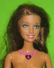 BRUNETTE BARBIE-RED HEART NECKLACE-MAGIC WAND SOUND-NUDE FOR ONE OF A KIND