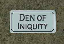 DEN OF INIQUITY Metal Sign 4 Costume Cosplay Girls Clubware S&M Prop