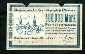 Germany Öhringen 500,000 Mark 1923 aVF