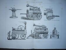 GRAVURE 1880 MATÉRIEL PROCÉDÉS AGRICULTURE  MEULES A AIGUISER LOCOMOTIVES