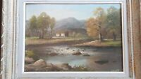 Paysage de rivière Huile sur toile de 1932 signée par Chaury Ecole Française