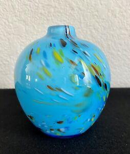 """Crate & Barrel Ziggy Vase Blue Hand Blown Multi-colored Confetti Art Glass 4.5"""""""