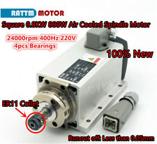 Square 0.8KW 800W Air Cooled Spindle Motor ER11 24000rpm 400Hz 220V 4pcs bearing