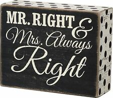 "MR RIGHT & MRS ALWAYS RIGHT Wedding Box Sign 3"" x 4"", Primitives by Kathy"