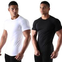 Men's Muscle Fit sport Elastic Gym Tee Bodybuilding Fitness Short Sleeve T-shirt