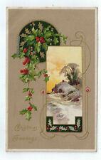 "Vintage Postcard ""Christmas Greetings"" Gold Embossed House Scene Germany 1908"