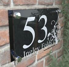 House Door Number Plaque Wall Gate Sign Name Plate Clear Acrylic Dec4-2WB
