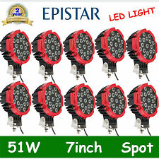 10X7in 51W LED Work Light RED Round Spot Beam Offroad fog Driving 4WD Truck DEAL