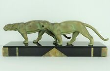 Nice Art Deco Bronze Sculpture of Two Panthers by Alexandre Ouline 1930s France