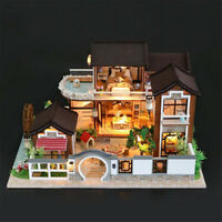 DIY Dollhouse Miniature Furniture Kit LED Kids Birthday Gift Model Children