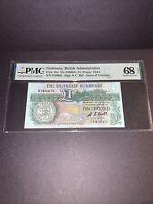 Rare High Grade PMG Guernsey/ British Administration 1 Pound Banknote ND p48a 68