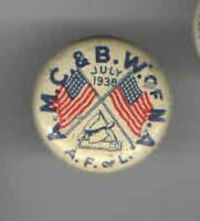 1938 LABOR UNION pin BUTCHER pinback #2