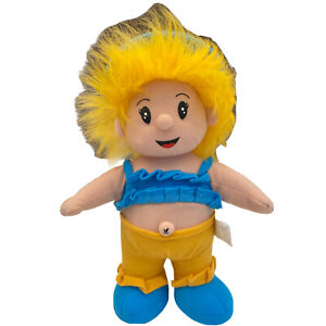 Huggable Toys Doll Girl Yellow Hair Blue Crop Yellow Pants Soft Plush Toy 30cm
