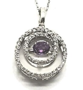 Elegant Silver 925 Dancing Purple Amethyst CZ Pave Swirl Spiral Circle Necklace
