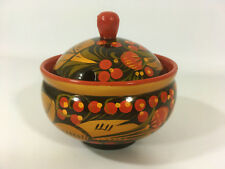 Vtg USSR Wooden Lidded Container Hand Decorated Russian Khokhloma Lacquerware