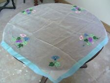 Square Table Cloth - Sheer Floral White/Grey & Blue  86cms