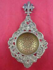 "Ornate Cherub Brass Loose Tea and Tea Bag Strainer - 6.5"""
