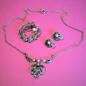 Antique jewellery Art Deco necklace brooch earrings gorgeous marcasite and pearl