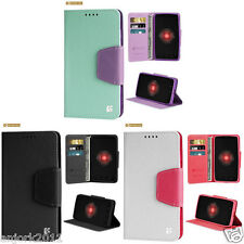 Folio Wallet Cover Pouch w/Magnetic Flap+Card Slots Case for Motorola Models