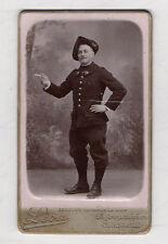 CDV PHOTO MILITAIRE Chasseur Alpin Léon à Grenoble Cigarette Vers 1900 Chapeau