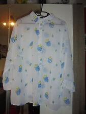 Bluse weiß-blau geblumt Gr. 52