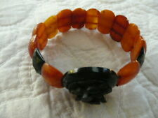 ANTIQUE  VICTORIAN WHITBY JET , OLD BALTIC AMBER HAND CUT AND CARVED   BRACELET
