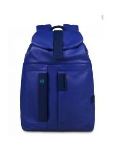 """Very rare Piquadro Pulse Electric Blue Leather 15"""" Laptop Rucksack excellent con"""