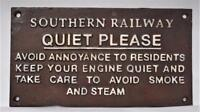Unusual - Southern Railway: Quiet Please Railroad Train Sign, Iron, Sign Plaque