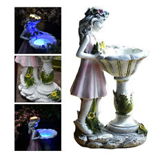 Garden Statue Art Outdoor Decorations, Large Solar Girl Resin Sculpture LED