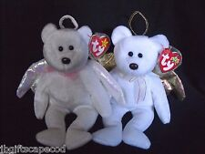Lot 2 -Ty Halo And Halo Ii Beanie Angels - Mwmt - Brown Noses! - Tag Protector