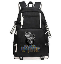 Marvel Black Panther Backpack Schoolbag Canvas Satchel Zipper Laptop Bag Gift