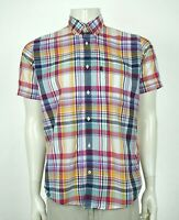 Barbour Fred Tailored Fit White Plaid Button Front Shirt Mens Medium