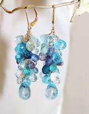 14k Gold Leverback GF London Blue Topaz Aquamarine Kyanite Chandelier Earrings