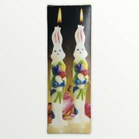 "Vintage Easter Bunny 8"" Taper Candles VTG Handpainted Unused NO HOLDERS GiftCo"