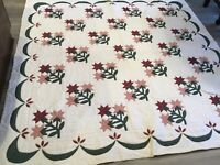 Vintage Patchwork Quilt, Carolina Lily, Arch Quilts, Cotton, Floral Calicos