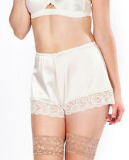 Shorty boxer panty retro vintage satin sexy blanc dentelle french knicker pinup
