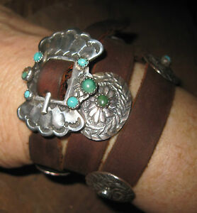 Old Stone Turquoise Concho Leather Bracelet Handmade Ralph Lauren 1980s