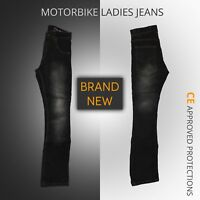 Ladies Motorcycle Motorbike Denim Trousers Jeans Women's black Jeans protective