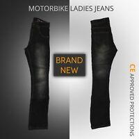 Ladies Motorcycle Motorbike Denim Trousers Jeans Women's black Jeans protective