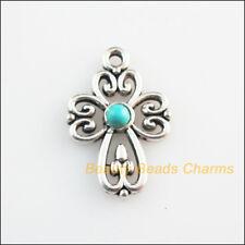 8 New Retro Charm Tibetan Silver Tone Turquoise Cross Flower Pendant 14.5x21.5mm
