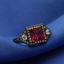 Sz9 Jewelry 18k Black Gold Filled Red Crystal Women Wedding Ring Set Gift YC04
