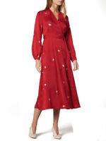 BNWT L.K. Bennett Elspeth Dahlia Jacquard Wrap Midi Dress Red UK 8 RRP £350