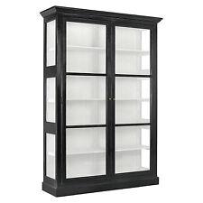 NELLY,Vitrine schwarz-weiß Landhausstil, großer Glastürenschrank Vitrine shabby