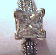 VINTAGE 14K WHITE GOLD WEDDING Ring 3/4 cttw diamonds 1/2 ct Princess 1/4 ct Rd